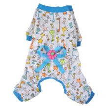 Colorful, cute, animals-printing yorkie pajamas with bow on back