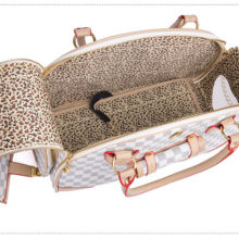 Trendy PU leather outdoor foldable dog bag / carrier / 2 Colors