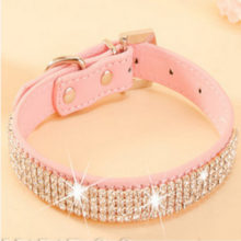 Cute, hot bling rhinestone PU leather puppy collar
