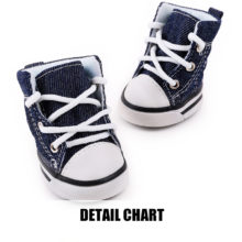 Extremely adorable denim-style Yorkie shoes / sneakers