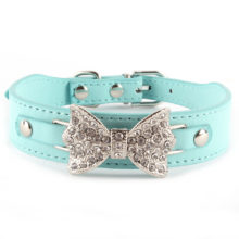 Charming Rhinestone Puppy Leather Collar / 3 Colors