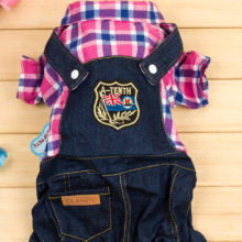 Yorkie Demin Overalls & T-Shirt outfit / 2 Colors